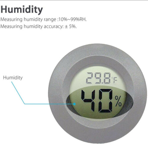 Digital LCD Round Hygrometer Thermometer Monitor Indoor Outdoor Humidity Meter