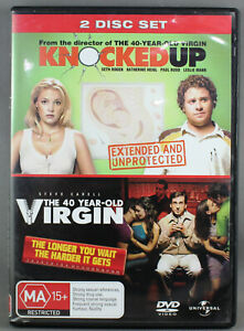 KNOCKED-UP-40-YEAR-OLD-VIRGIN-DVD-2007-2-DISC-SET-VERY-GOOD-TO-EXCELLENT