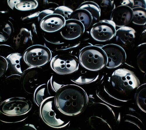 19mm 30L Black 4 Hole Polished Buttons Button Craft Sewing Scrapbook W771
