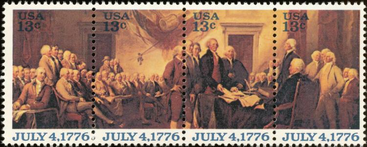 1976 13c Declaration of Independence, Strip of 4 Scott