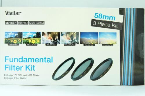 Kit 3 filtros Vivitar 58mm UV CPL ND8 para Sony Canon Nikon Tamron Pentax Sigma