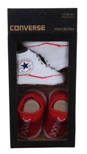 7cdb0893951d5 Converse All Star Bébé Mandrins Blanc Rouge Chaussettes 0-6 Mois ...