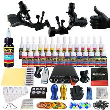 Complete Tattoo Kit 2 Rotary Machines Gun 28 Immortal Inks Power Supply Tk204-19