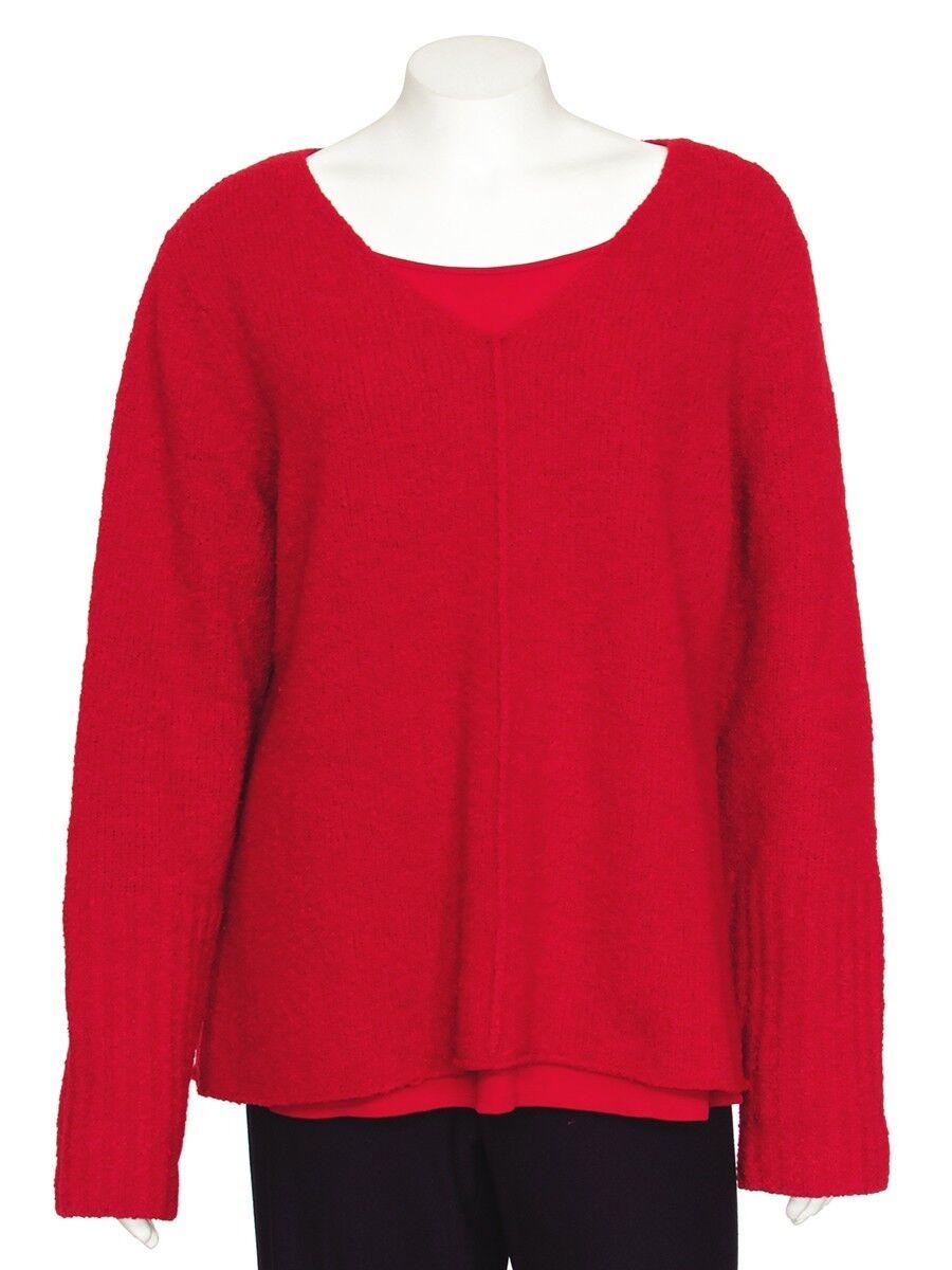 FINAL MARKDOWN  Eileen Fisher Red V-Neck Wool Blend Sweater sz XL