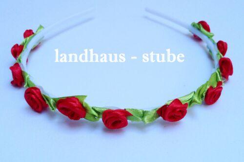 Haarreif  Rosen Blüten ~ Rot ~   Blumenmädchen Hochzeit Kommunion Kopfschmuck