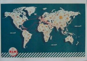 KLM AIRLINES FLIGHT MAP Vintage Travel poster 1943 25x40 NEAR MINT LINEN BACKED