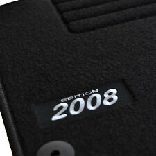 4 TAPIS SOL PEUGEOT 2008 FELINE ACTIVE ALLURE MOQUETTE LOGO BLANC SPECIFIQUE