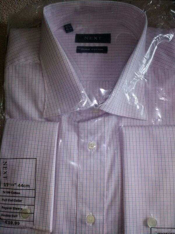 2 X Next 17.5 Collar Brand New Blue/pink Check & Red Fade Both Button Sleeves