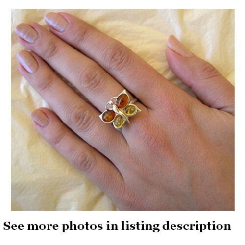 BALTIC MULTICOLOR AMBER /& STERLING SILVER TWO STYLE BUTTERFLY HANDMADE RING