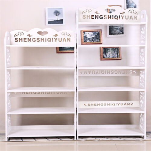 White-Hollow-Out-3-4-5-Tiers-Shoe-Rack-Stand-Storage-Organiser-Shelf-Unit-New