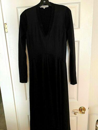 YvesSaintLaurent Dress Black Wool Long Sleeve V Ne