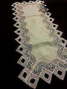 """Lace Table Runner Beige Tablecloth 15x70"""" Table topper Home Party Wedding Decor"""