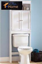 Over The Toilet Cabinet Bathroom Storage Wood Space Saver Shelf Organizer White