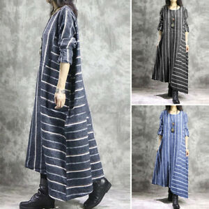 ZANZEA UK Women Long Sleeve Striped Dress Casual Loose Baggy Kaftan Maxi Dresses