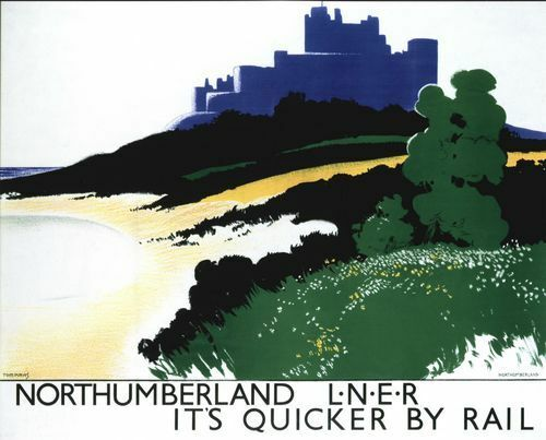A2  Reprint Vintage LNER Northumberland Bamburgh Castle Railway Poster A3