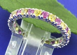 1-75ct-14k-Solid-White-Gold-Natural-Yellow-amp-Pink-Sapphire-Eternity-Ring-2-2gram