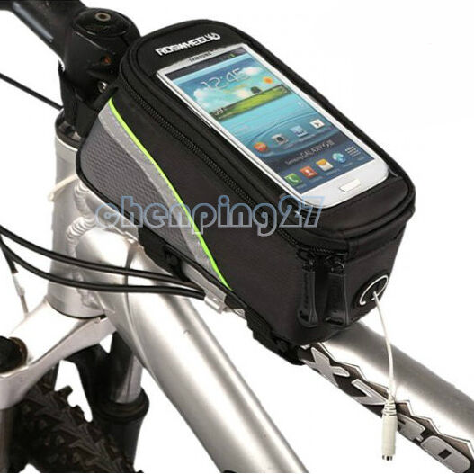 Silver Cycling Bike Bicycle Frame Front Tube Bag Phone Case For iPhone 4/4S 5 SE