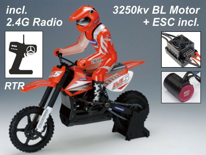Anderson m5 CROSS RC moto bici RTR - 2.4ghz + 3250kv BRUSHLESS-Coloreee Rosso