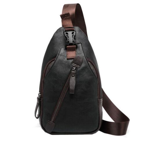 Men Leather Chest Sling Pack Shoulder Cross Body Bag Daypack Satchel Backpack