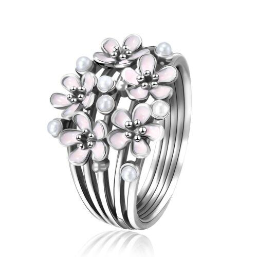 Émail rose fleurs perle design argent 925 anneau Filles Femme Bijoux Taille 6-11