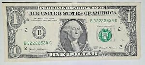 FANCY UNIQUE SERIAL NUMBER NOTES TRAILING SOLID QUAD of 2222 in $1 Dollar Bill