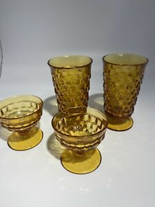 Set-of-4-Vintage-Amber-Cubist-Indiana-WHITEHALL-ICE-TEA-WATER-Footed-Glasses