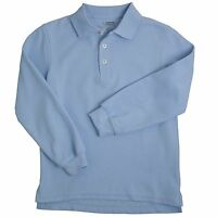 French Toast Polo Shirt Light Blue Navy Blue 10 - 20 Husky Lg Sleeve Uniform