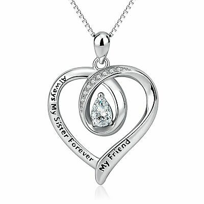 My Sister My Friend Engraved Heart 925 Silver Plated Necklace Fashion Jewelry