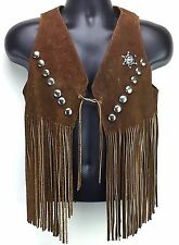 Vintage Suede Mens Western Leather Vest Sheriff Fringe Badge Brown Size Small
