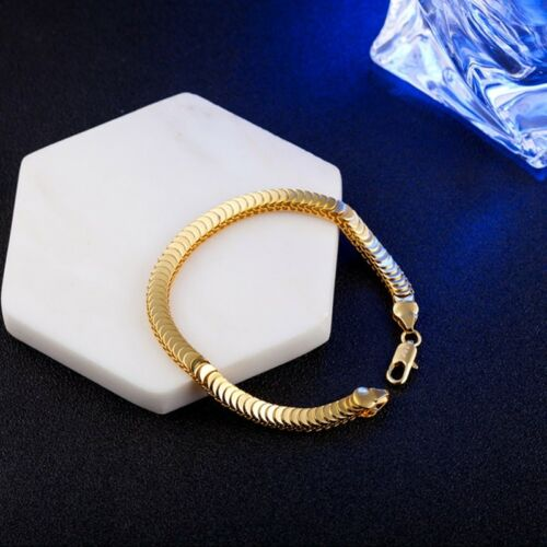 Fine Man Party Gift Gold Snake Chain 18KT Gold Bracelet+Necklace Jewelry Set