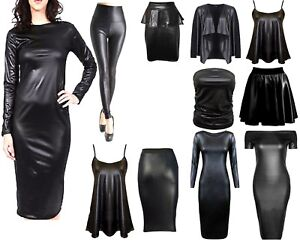 LADIES-WOMENS-WET-LOOK-LONG-SLEEVE-PVC-LEATHER-DRESS-BODYCON-TUNIC-TOP-SIZE-8-26