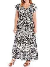 Nuevo LabelBe para SimplyBe más tamaño 18 Negro Maxi Vestido Impreso De Marfil