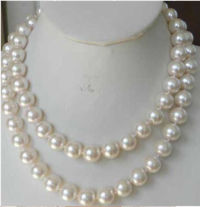 12mm AAA White Sea Shell Pearl Necklace 36inch Long