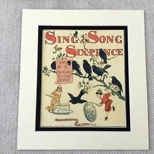 1885 Antik Aufdruck Kinder Geschichte Buch Cover Kunst Sing Ein Song Von Sechs