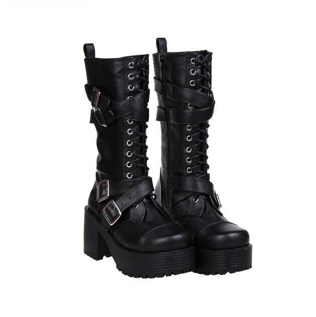 donna Chunky Punk Knee High stivali nero Lace Up scarpe Platform Heel Zip Cosplay