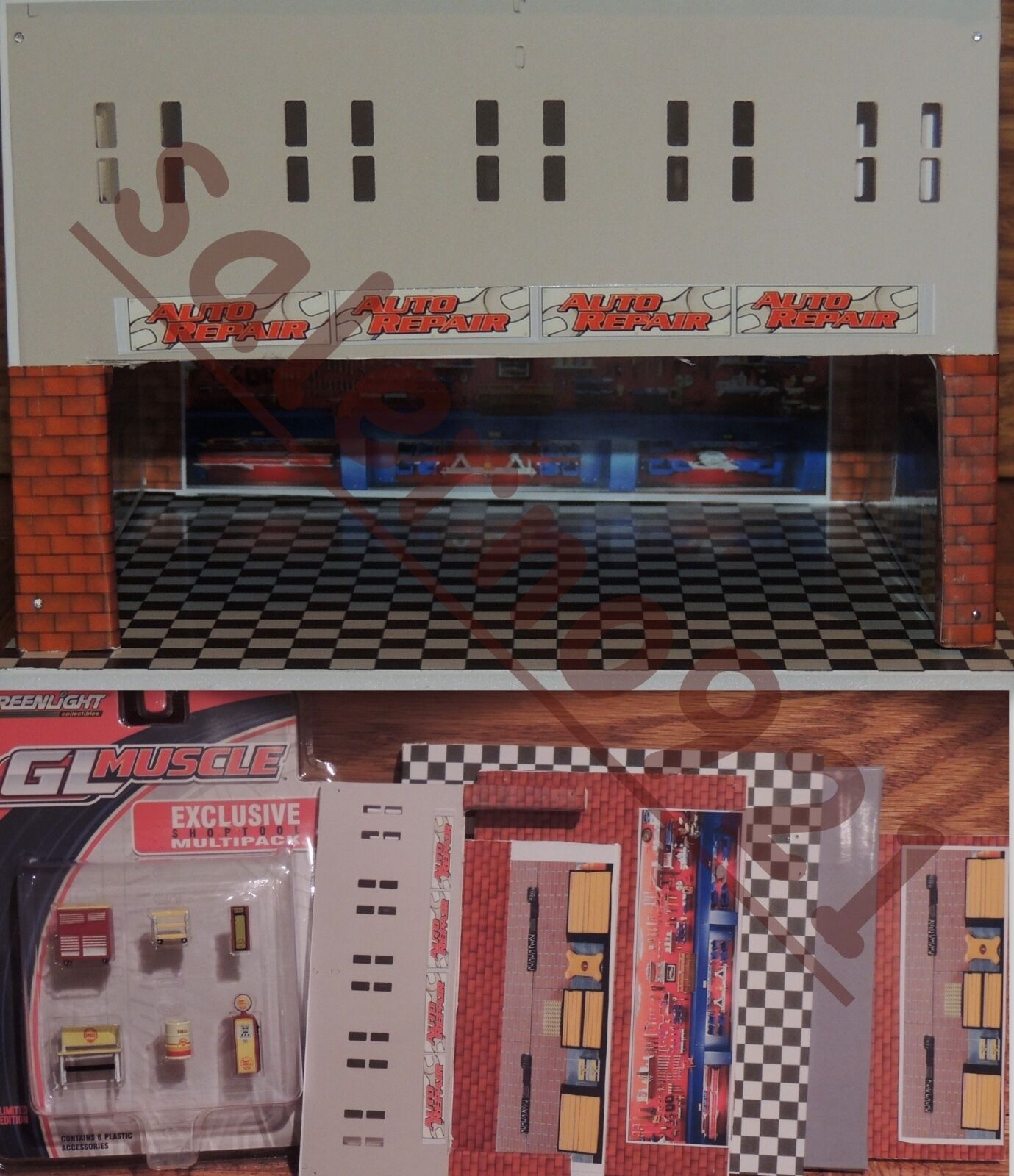 TWO FLOORS BUILDING KIT WITH SHELL STATION GARAGE 1 64 (S) Scale DIORAMA