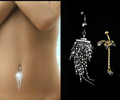 ANGEL WING CROSS Belly Bar Piercing Button Ring Crystal Dangly Reverse Navel Bar