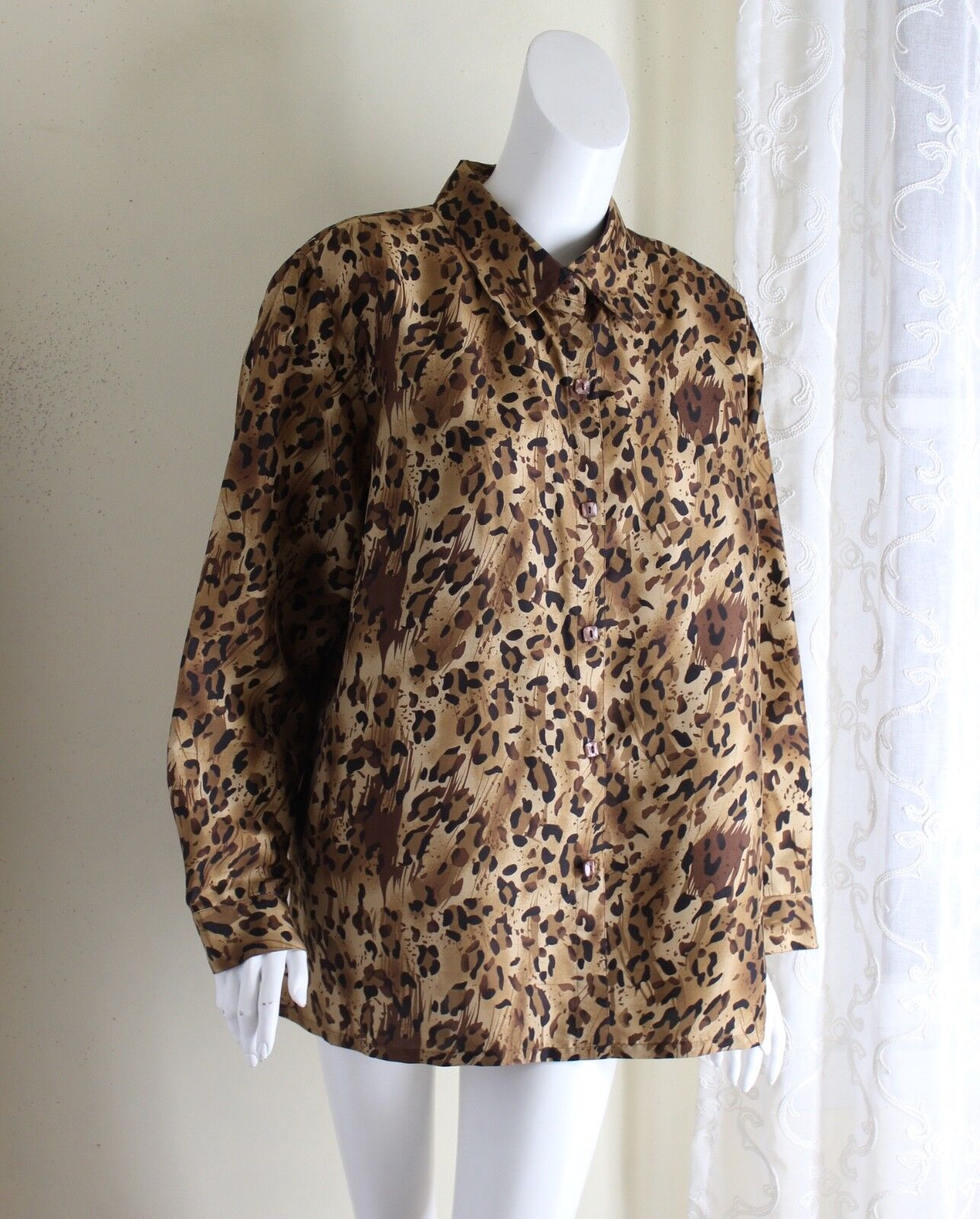 CLOTHES -Sz 2X Gorgeous Designer Silk Animal Print Blouse Shirt Top