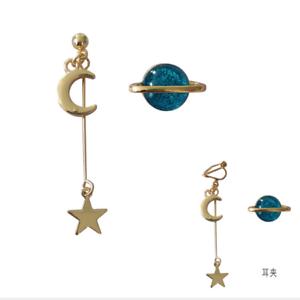 Space-Universe-Star-Moon-Stud-Earrings-Planet-Asymmetric-Jewelry-For-Women-Girl