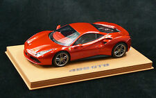 1/18 BBR FERRARI 488 GTB ROSSO FUOCO METALLIC/BROWN DELUXE BASE LE 15 PCS N MR