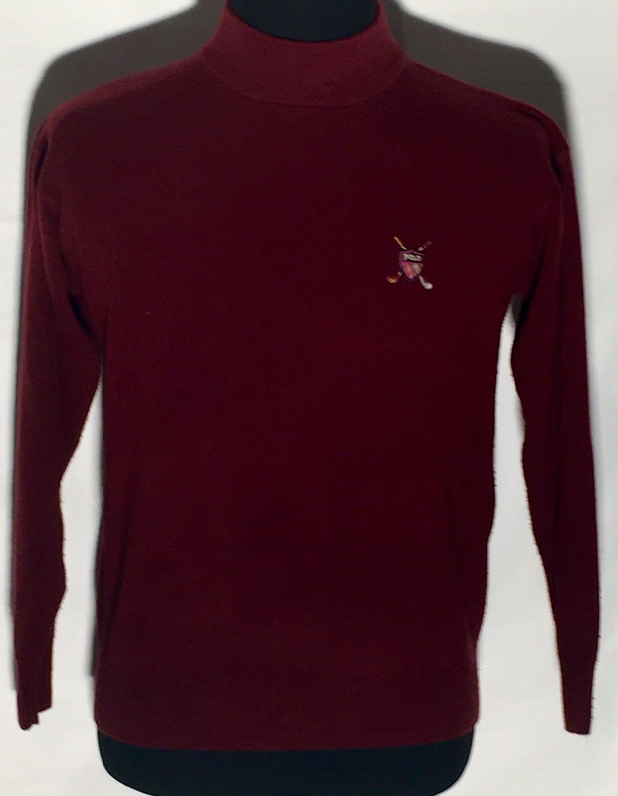 Vtg Polo Brand Logo 100% Cashmere Größe Medium M ROT Burgandy Long Sleeve Sweater