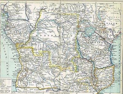 Afrika Karte Deutsch.Karte äquatorial Afrika Kongo Deutsch Ostafrika 1893 Original