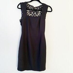 Vintage-Ann-Taylor-Black-Sheath-Dress-Mesh-Back-Zipper-Button-LBD-Size-6