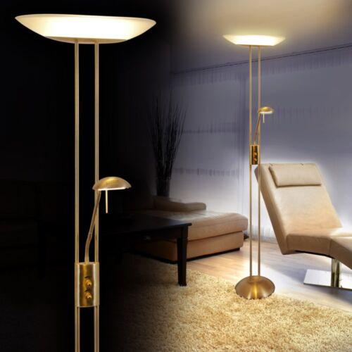 Design LED Deckenfluter Standleuchte Messing Bodenleuchte Stehleuchte dimmbar