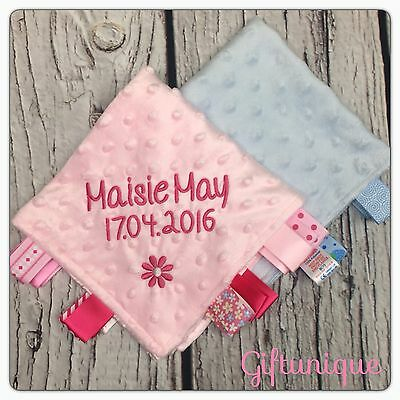 PERSONALISED Baby Taggy Blanket Comforter Pink Blue Boy Girl ANY NAME Taggie