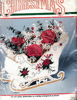BUCILLA 1990 Christmas Holiday Rose Sleigh Plastic Canvas 8 x 7 #61141 NEW Craft Supplies