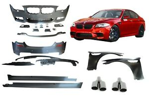 Details about BMW F10 5 series M5 Body kit Front Rear Bumper conversion  Fenders + EXHAUST