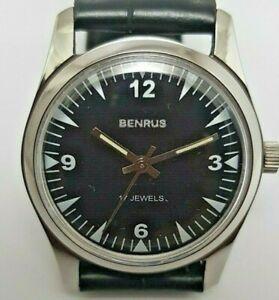Swiss-Benrus-Super-Watch-Mint-Black-Dial-Coroco-Smoot-Strap-Still-Bcull-17jewels