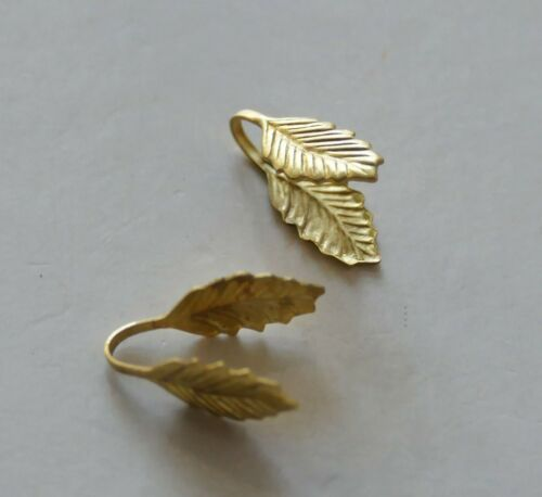 10x Brass Leaf Pinch Clip Glue on Pendant Snap on Bail for Gemstones D389