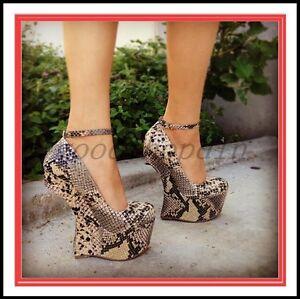 compensés talons de à pour en Vogue Chaussures peau femmes serpent 3j4q5ALR